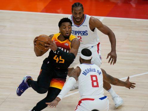 Donovan Mitchell, left, scored 45 points for the Utah Jazz (Rick Bowmer/AP)
