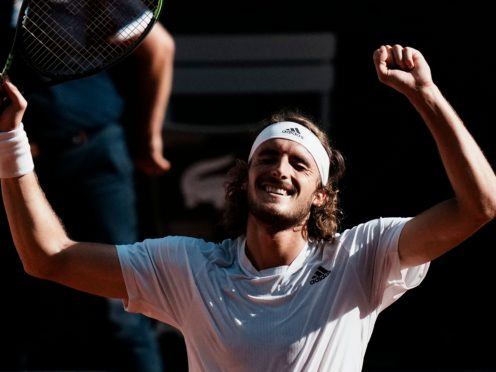 Stefanos Tsitsipas claimed an emotional victory (Thibault Camus/AP)
