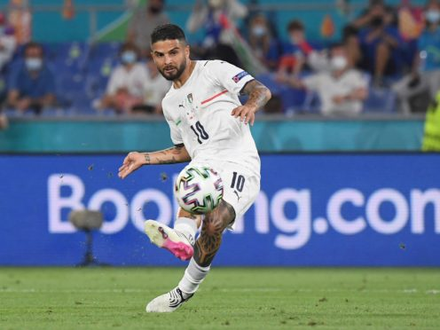 Italy's Lorenzo Insigne scores his side's third goal against Turkey in the opening game at Euro 2020 (Alberto Lingria/Pool Photo via AP)