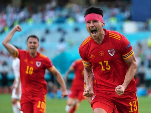 Wales' Kieffer Moore celebrates his equaliser (Darko Vojinovic/AP).