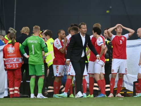 """Kasper Hjulmand, centre, feels his players were not treated with """"compassion"""" by UEFA following Christian Eriksen's cardiac arrest (Stuart Franklin/AP)"""
