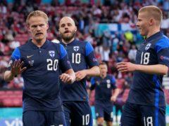 Joel Pohjanpalo (left) made the breakthrough for Finland in Copenhagen (Martin Meissner, Pool/AP)