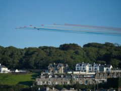 The Red Arrows fly over St Ives Head, during the G7 summit in Cornwall (Aaron Chown/PA)