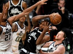 Kawhi Leonard, centre, and Paul George combined to get the Los Angeles Clippers competing again in their Western Conference second-round playoff series with a defeat of the top-seeded Utah Jazz (Keith Birmingham/The Orange County Register/AP)