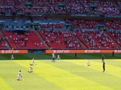 England players took the knee ahead of their Euro 2020 opener against Croatia on Sunday. (Martin Rickett/PA)