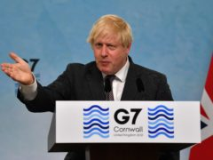Prime Minister Boris Johnson during a press conference on the final day of the G7 summit in Cornwall (PA)