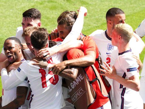 England celebrate Raheem Sterling's goal (Martin Rickett/PA)