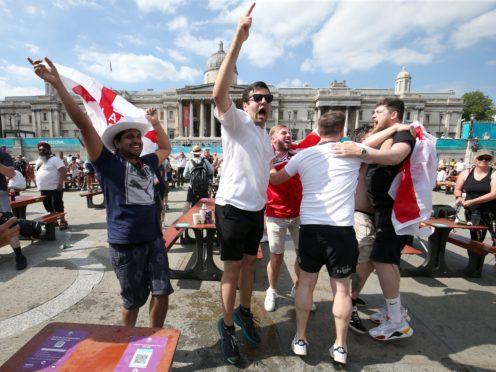 Celebrations at the fanzone in Trafalgar Square (Jonathan Brady/PA)