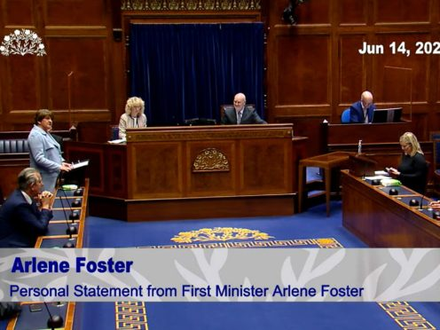 Arlene Foster formally announcing her resignation as First Minister in the chamber of the NI Assembly at Parliament Buildings, Stormont (Screengrab/PA)