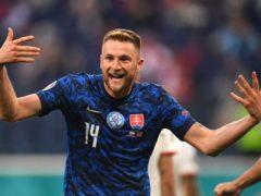 Milan Skriniar scored the winner as Slovakia stunned Poland (Kirill Kudryavtsev/Pool via AP)