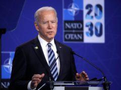 US President Joe Biden speaks during a media conference during a Nato summit in Brussels (Olivier Hoslet, Pool via AP)