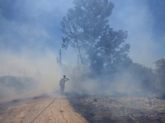 An Israeli firefighter attempts to extinguish a blaze caused by an incendiary balloon launched by Palestinians from the Gaza Strip (Tsafrir Abayov/AP)