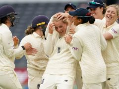 Sophie Ecclestone celebrates a wicket during a strong end to the day for England (Zac Goodwin/PA)