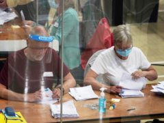 Ballots are counted for the Chesham and Amersham by-election at Chesham Leisure Centre in Chesham, Buckinghamshire. Picture date: Thursday June 17, 2021.