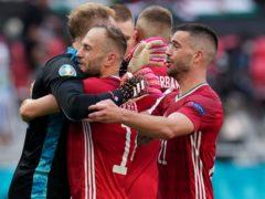 Hungary celebrate their draw against France (Darko Bandic/AP).