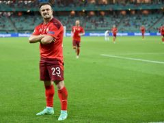 Xherdan Shaqiri celebrates scoring his side's third goal against Turkey in Baku (Ozan Kose/Pool via AP)