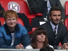Ed Sheeran, David Beckham, and the Duke and Duchess of Cambridge, together with Prince George, at Wembley (Nick Potts/PA)