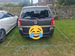 The car of an unlucky batsman, who hit a cricket ball through his own window (DAG Brooksby)