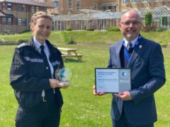 Chief Inspector Sharon Baker with chairman of the Avon and Somerset Police Federation Iain Prideaux (PA)