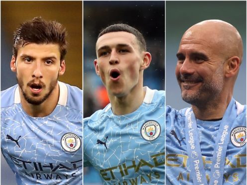 Manchester City's Ruben Dias (left), Phil Foden (centre) and Pep Guardiola have been awarded (Martin Rickett/Carl Recine/PA).