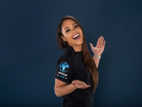 Presenter Alex Scott is set to be the pitchside reporter for Soccer Aid for UNCIEF 2021 on ITV at the Etihad Stadium on September 4.(UNICEF/Soccer Aid Productions/Stella Pictures Handout/PA)