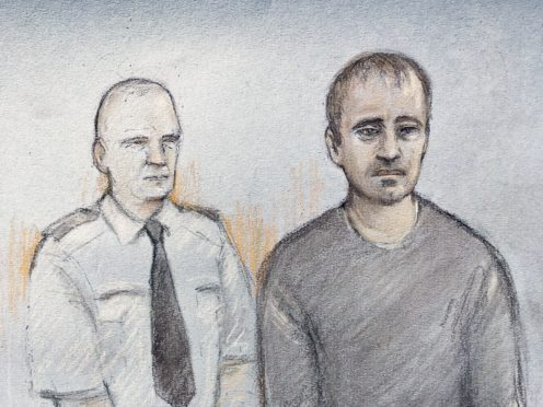 Court artist sketch of Thomas Schreiber, 34, (right) who has been charged with the murder of Sir Richard Sutton (Elizabeth Cook/PA)