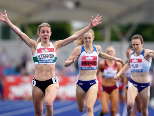 Great Britain's Keely Hodgkinson beat Jemma Reekie and Laura Muir to the British 800m title. (Martin Rickett/PA)