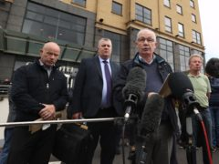 Mickey McKinney speaks to the media outside the City Hotel in Londonderry (Liam McBurney/PA)