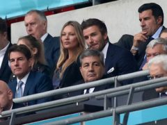 Former England player David Beckham in the stands during the Euro 2020 championship final match between England and Italy at Wembley (Carl Recine/Pool Photo via AP)