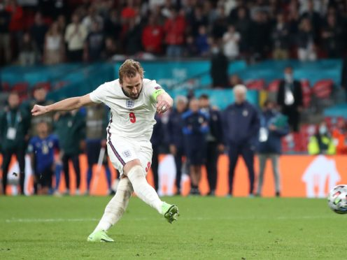 England's Harry Kane scores in the penalty shoot-out (Nick Potts/PA)