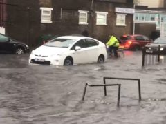 Flooded Turnpike Lane in north London, after heavy rainfall (@braggendasz/PA)