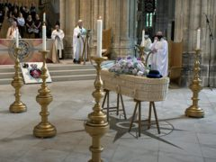 PCSO Julia James's coffin rests in front of the altar during her funeral service at Canterbury Cathedral (Canterbury Cathedral/PA)