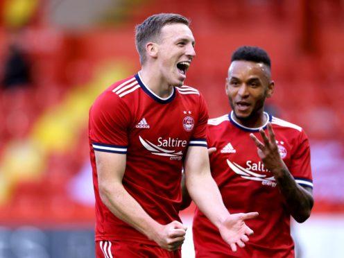 Aberdeen's Lewis Ferguson celebrates scoring his side's third goal (Steve Welsh/PA)