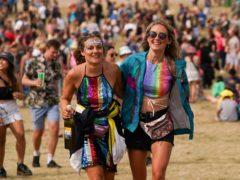 Festival goers Jenna Goudswaard and Rachel Whitford at Latitude Festival (Jacob King/PA)
