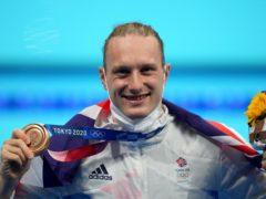 Great Britain's Luke Greenbank celebrates his bronze in the men's 200m backstroke (Joe Giddens/PA Images).