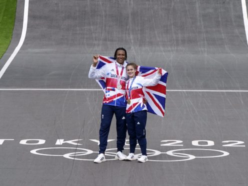 Beth Shriever and Kye Whyte celebrate on the track (Danny Lawson/PA)