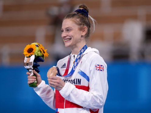 Bryony Page poses with her bronze medal (Mike Egerton/PA)