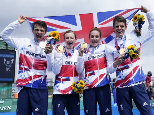 Britain's victorious triathlon team of (left to right) Alex Yee, Georgia Taylor-Brown, Jess Learmonth and Jonny Brownlee (Danny Lawson/PA)