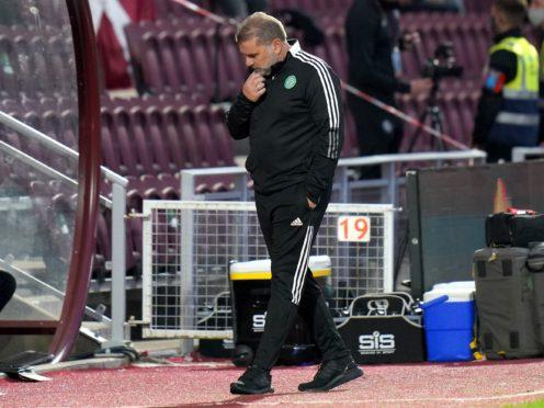 Ange Postecoglou suffered more frustration at Tynecastle (Jane Barlow/PA)