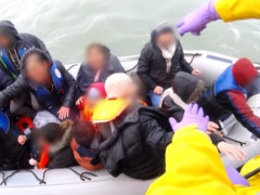 Screengrab from footage of a rescue of migrants at sea (RNLI/PA)