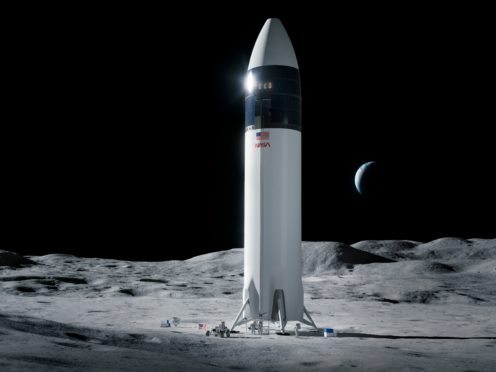 An illustration of the SpaceX Starship human lander design that will carry the first Nasa astronauts to the surface of the moon under the Artemis programme (SpaceX/NASA via AP)