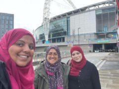 Campaigners Shaista Aziz (left), Huda Jawad (centre) and Amna Abdullatif, also known as the Three Hijabis (Shaista Aziz)