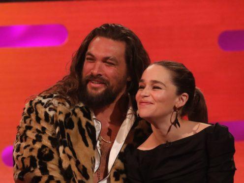 Jason Momoa and Emilia Clarke (Isabel Infantes/PA)