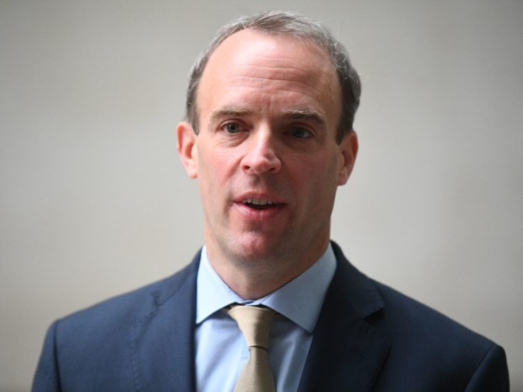 Foreign Secretary Dominic Raab has hit out at Iran over the attack on the tanker (Victoria Jones/PA)