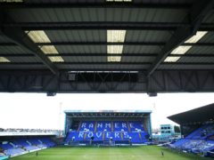 """Interior general view of the ground ahead of the Sky Bet League Two match at Prenton Park, Birkenhead. Picture date: Monday April 5, 2021. See PA story: SOCCER Tranmere. Photo credit should read: Tim Markland/PA Wire. RESTRICTIONS: EDITORIAL USE ONLY No use with unauthorised audio, video, data, fixture lists, club/league logos or """"live"""" services. Online in-match use limited to 120 images, no video emulation. No use in betting, games or single club/league/player publications."""