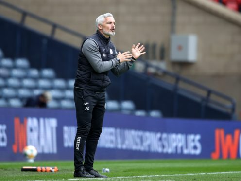 Jim Goodwin is glad to see Hearts back in the top flight (Andrew Milligan/PA)