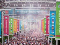England fans along Wembley Way ahead of the Uefa Euro 2020 final (PA)