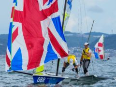 Great Britain's Dylan Fletcher and Stuart Bithell en route to 49er sailing gold in Tokyo (AP Photo/Bernat Armangue)