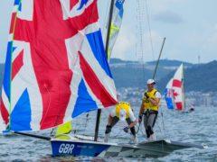 Great Britain's Dylan Fletcher and Stuart Bithell en route to 49er gold in Tokyo (AP, Bernat Armangue)