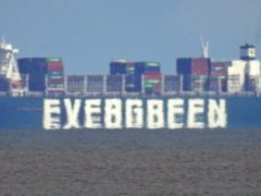 The container ship Ever Given, chartered and operated by container transportation and shipping company Evergreen Marine, waits off the Suffolk coast for a berth at Felixstowe docks.